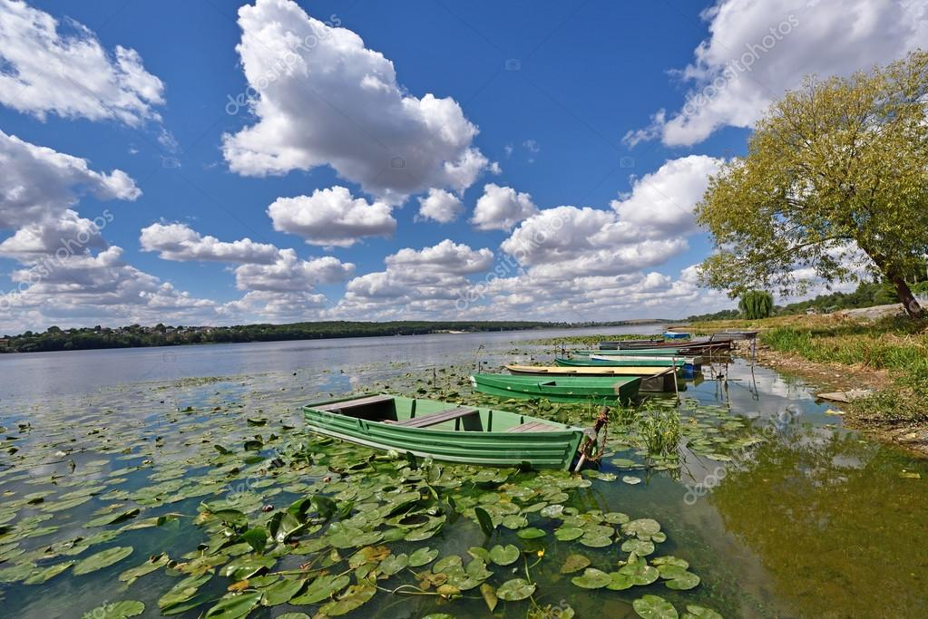 Mystical landscape with boats among water lilies on a pond on a