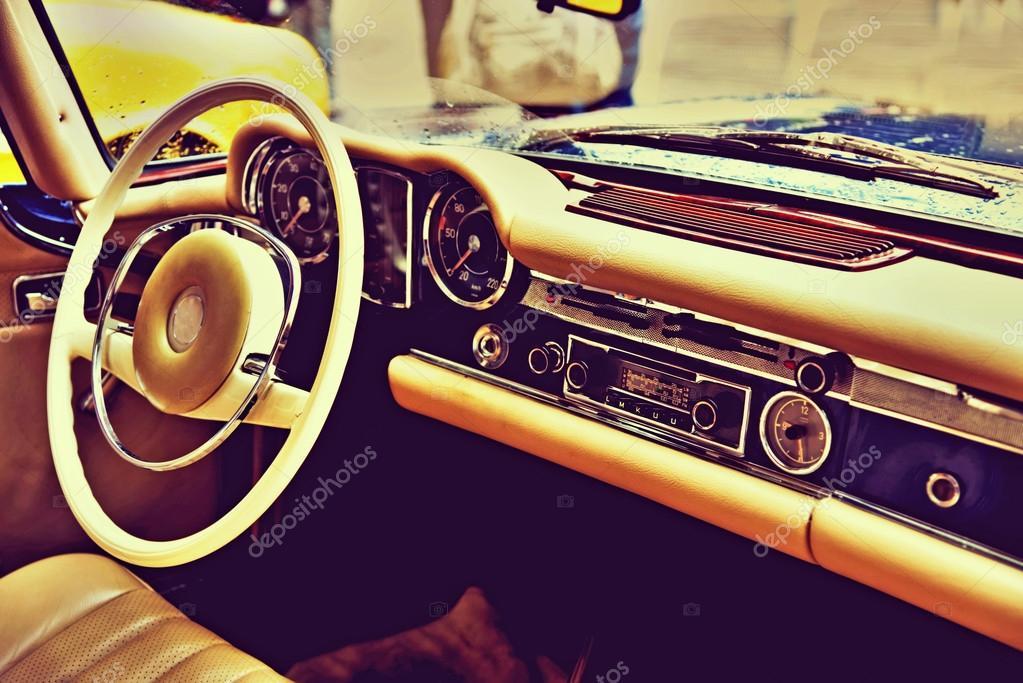 Fragment retro car dashboard. vintage style — Stock Photo © Andrij ...