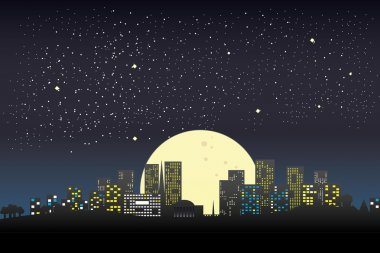 Night city silhouette and night sky with stars and moon.