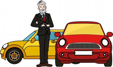 Boss senior man standing by luxury cars