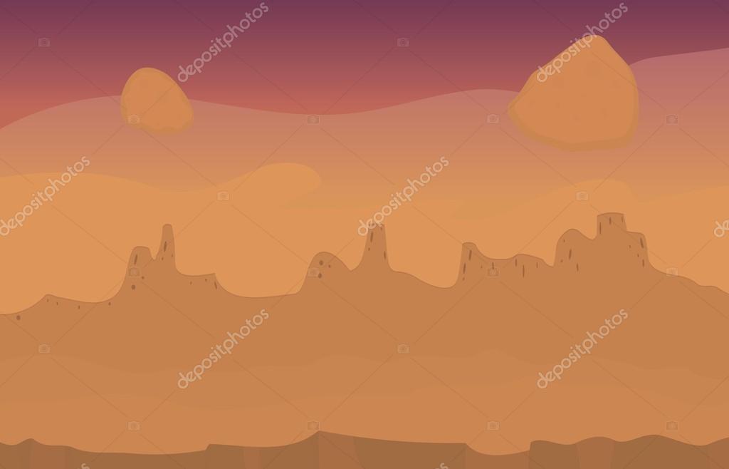 Martian landscape desert view