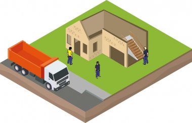 Isometric unfinished brick house construction with truck and builders