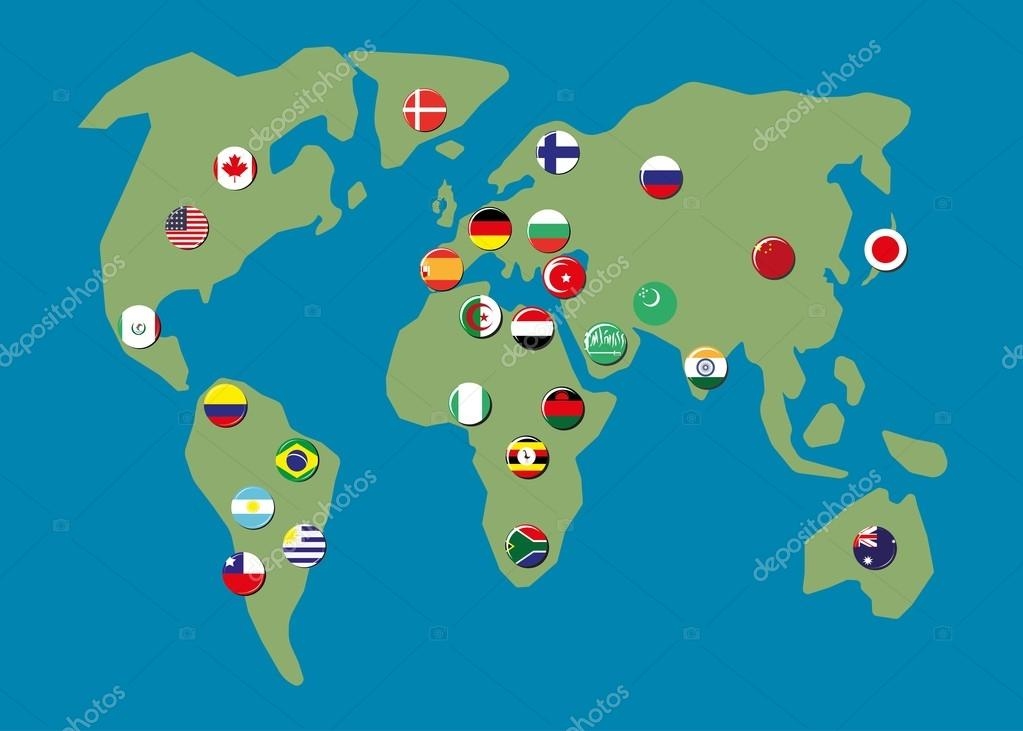 Map World With Biggest Country Flag Badges Stock Vector - Biggest country in the world