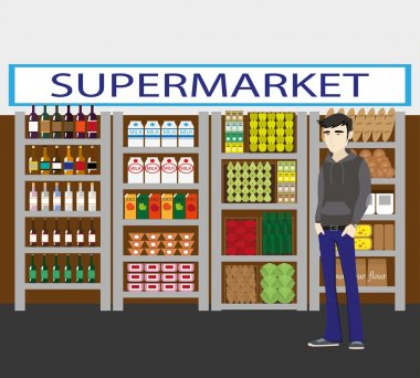 Supermarket interior: showcases, fruits, vegetables, drinks. Man choosing shop products.