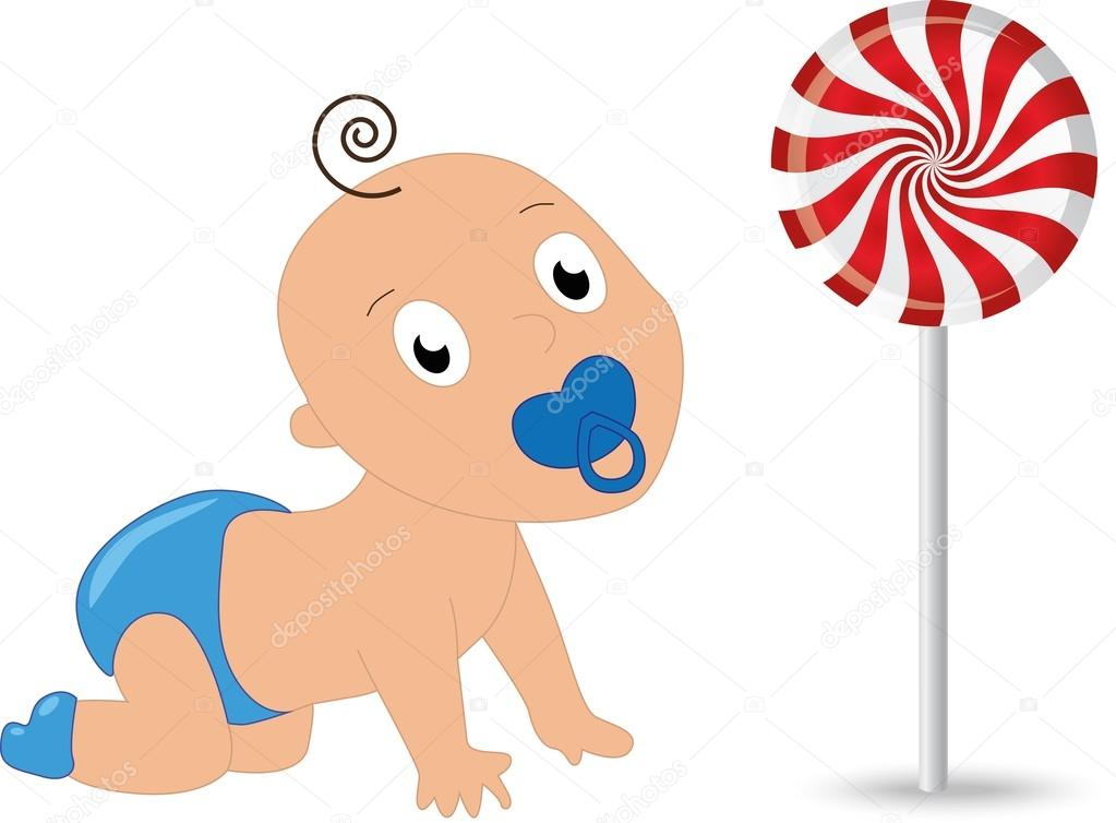 Happy Little Baby Crawling To Candy Lollipop Stock Vector