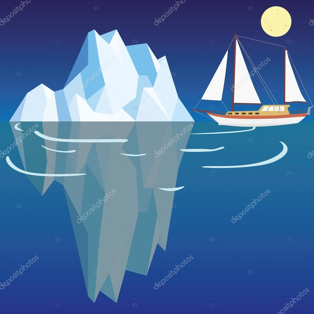 Polygonal iceberg under and above water with ship close to trouble
