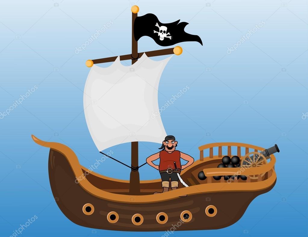 pirate ship with pirate man and cannon u2014 stock vector sasha zerg