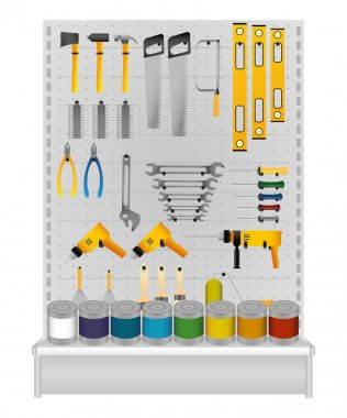 Store shelf with tools