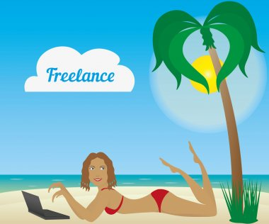 Beautiful tanned girl laying on a beach with laptop. Freelancer logo.