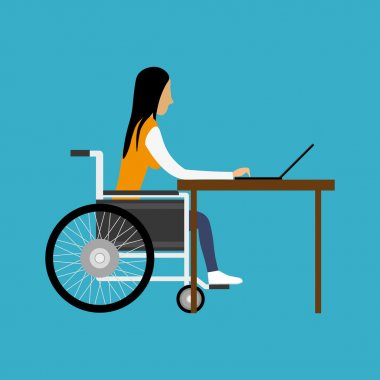 Handicapped woman working with laptop