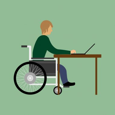 Handicapped man working with laptop