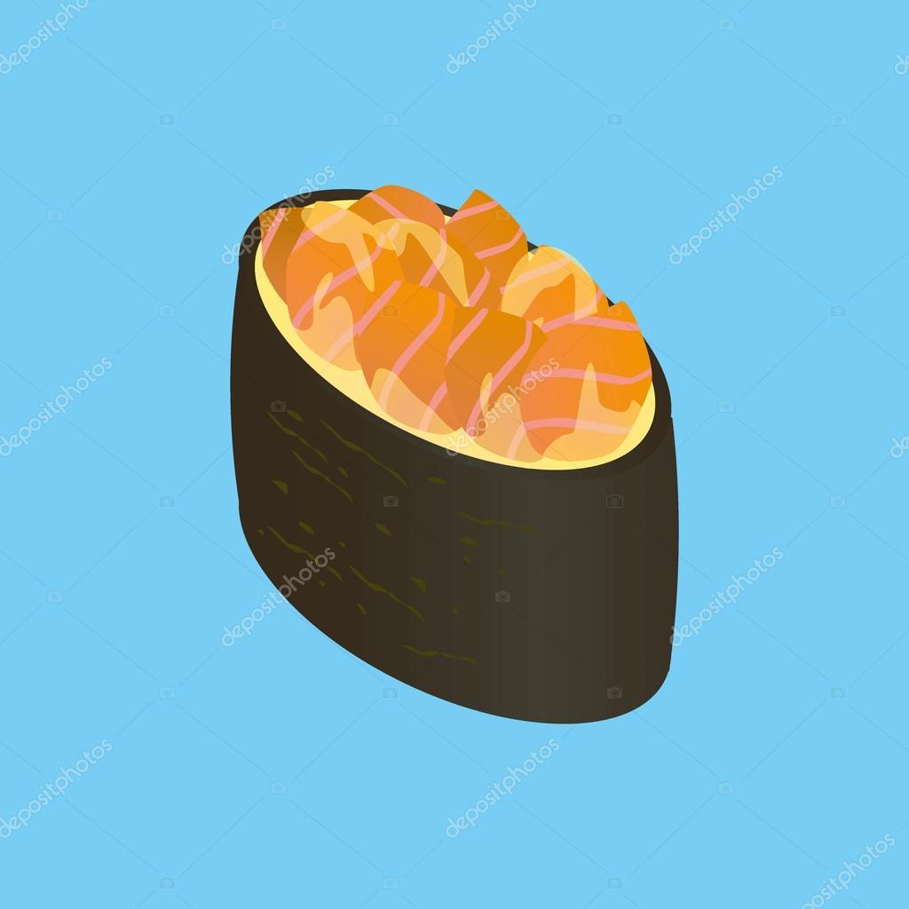 Gunkan-maki with salmon. Japanese sushi.