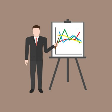Businessman giving a presentation with chart