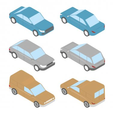 Set of isometric cars