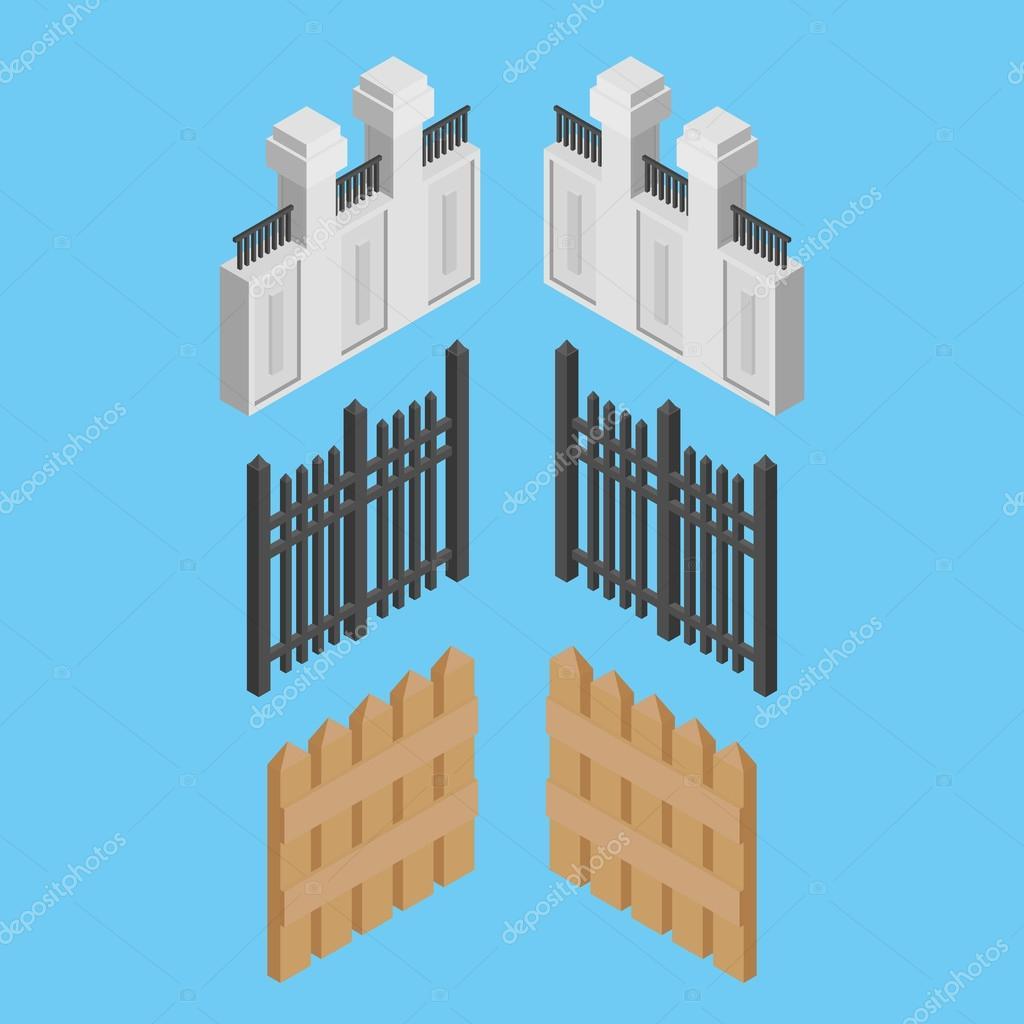 Isometrische Zaun Aus Metall Holz Und Stein Stockvektor