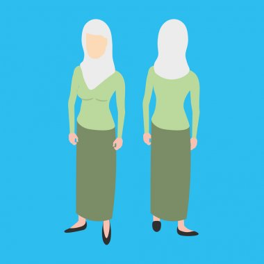 Isometric muslim woman front and back pose