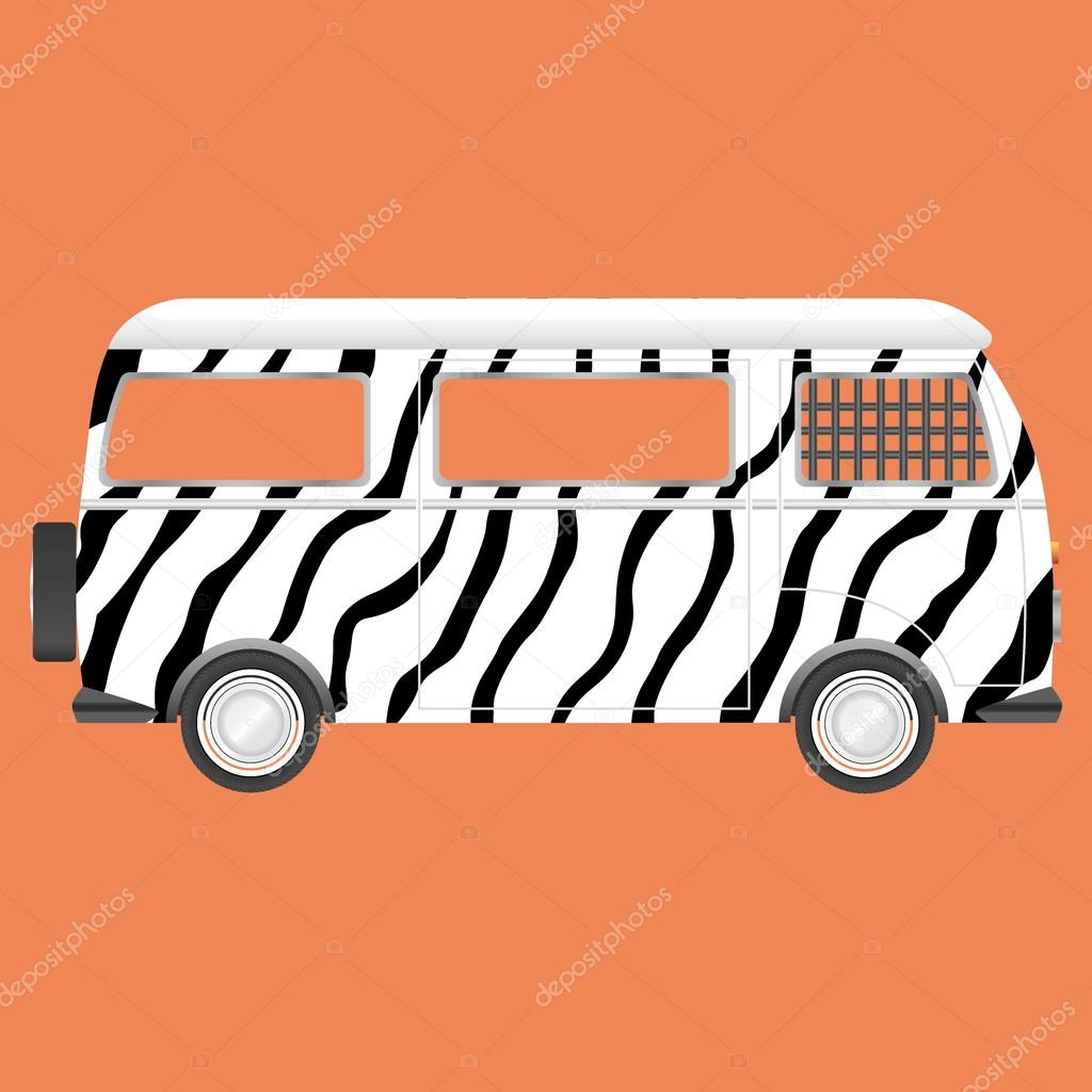 Retro safari bus zebra style