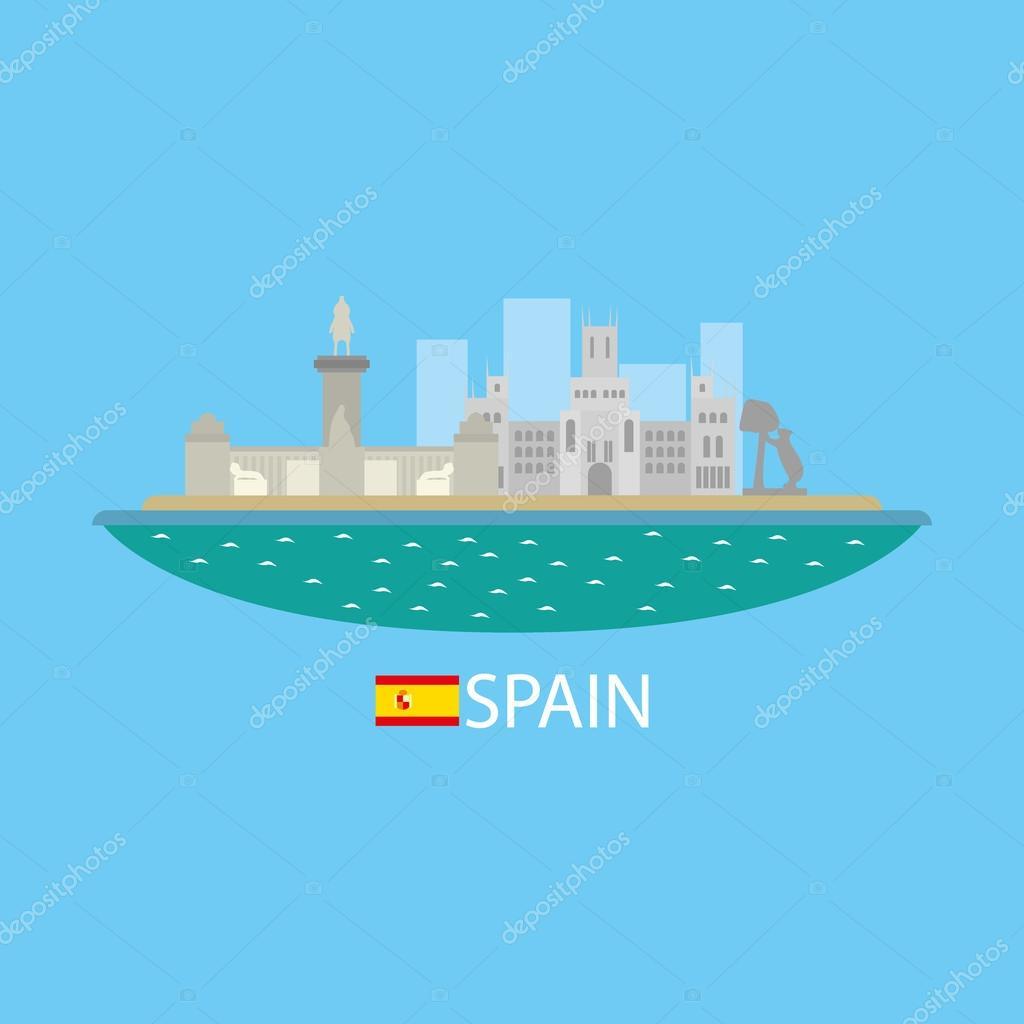 Spain famous buildingds infographic
