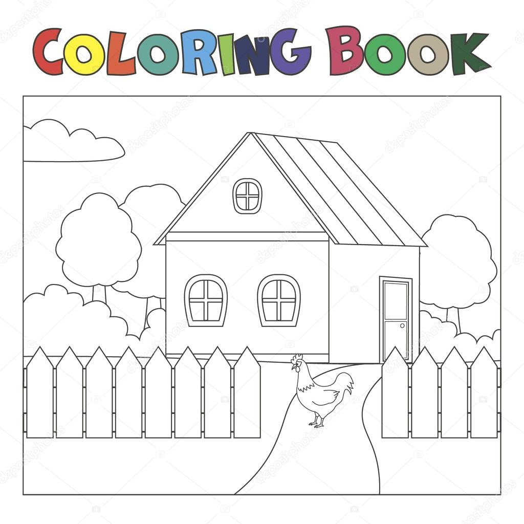 Coloring book with house and chicken: farm landscape