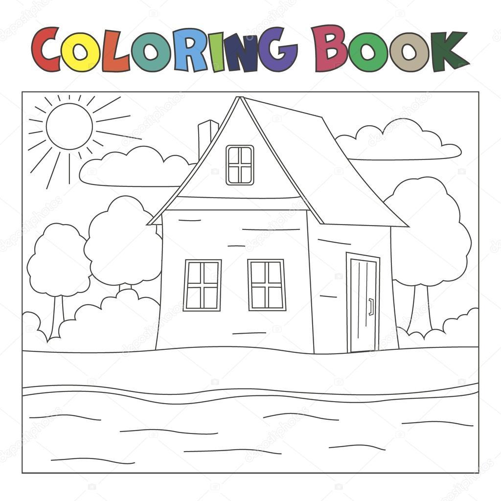 livro de colorir com casa e rio paisagem da fazenda vetores de