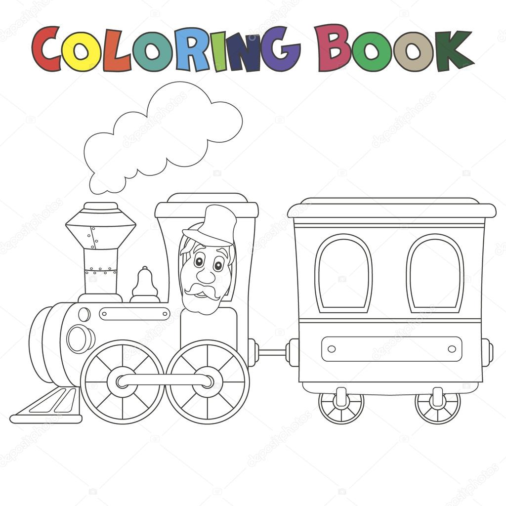 Coloring book train with carriages — Stock Vector © sasha_zerg #93729978