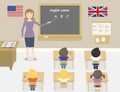 A vector illustration of teacher teaching english in a classroom