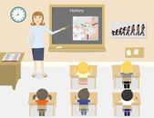 A vector illustration of teacher teaching history in a classroom