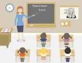 Egy vektoros illusztráció a tanítás egy tanteremben fizika tanár