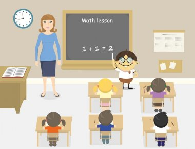 A vector illustration of teacher teaching math in a classroom