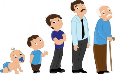 Man aging from infants to seniors. Baby, child, teenager, student, adult man and senior man.