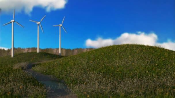 generatori eolici sul concetto di energia verde, Prato, seamless loop - 3d rendono