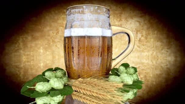 sklenice piva s ječmen a chmel - 3d render