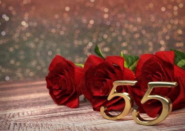 Birthday concept with red roses on wooden desk. Fiftyfifth. 55th. 3D render