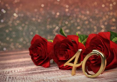 birthday concept with red roses on wooden desk. fortieth. 40th. 3D render