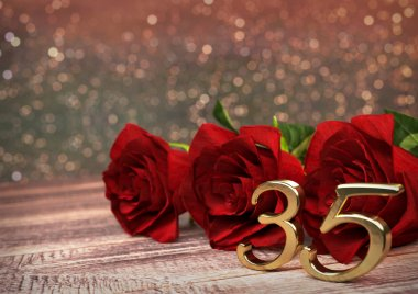 birthday concept with red roses on wooden desk. thirtyfifth. 35th. 3D render