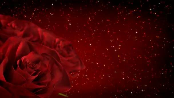 forgó piros rózsák csillogó részecskéket - 3d render. varrat nélküli hurok