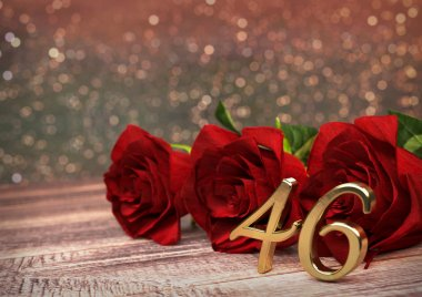 birthday concept with red roses on wooden desk. forty-sixth. 46th. 3D render