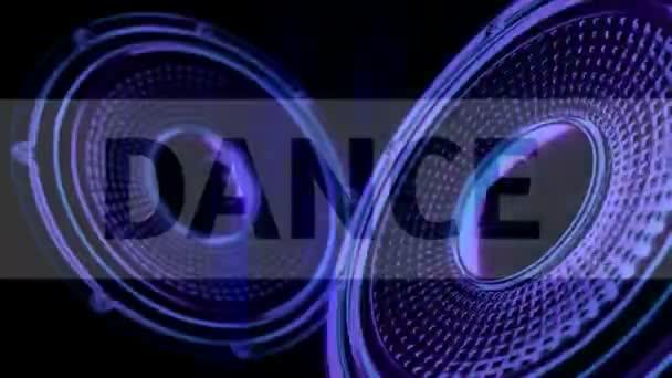 VJ movimento musicale filmati - altoparlanti al neon e segni. 3d render