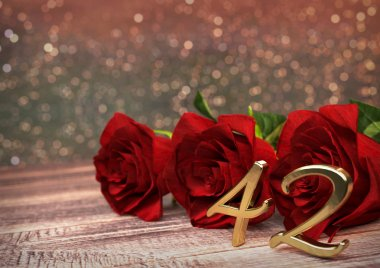birthday concept with red roses on wooden desk. forty-second. 42nd. 3D render