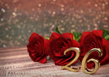 birthday concept with red roses on wooden desk. twenty-sixth. 26th. 3D render