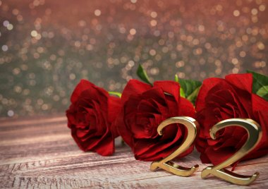 birthday concept with red roses on wooden desk. twenty-second. 22nd. 3D render