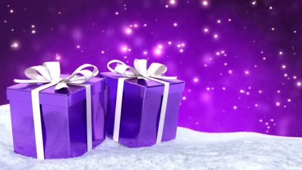 Vánoční dárky ve sněhu na bokeh fialové pozadí. Bezešvá smyčka. 3D vykreslování.