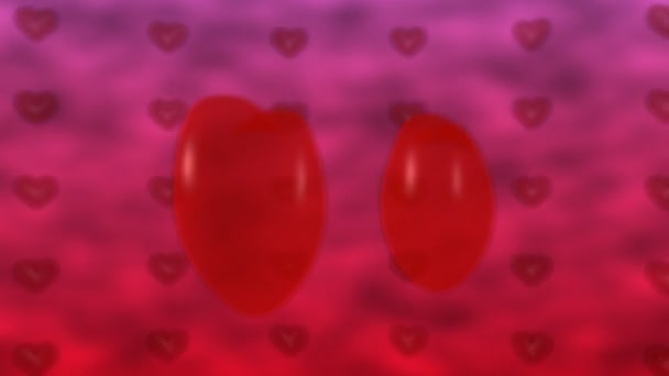 Seamless video loop of red heart shapes