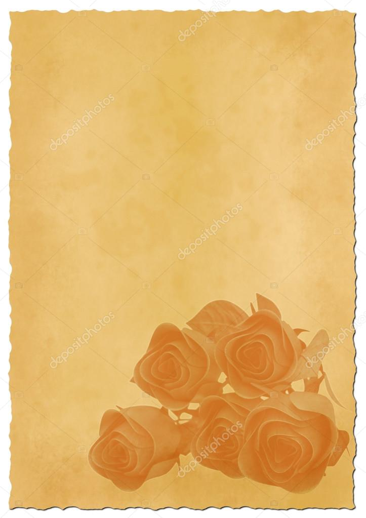 retro ripped paper with roses