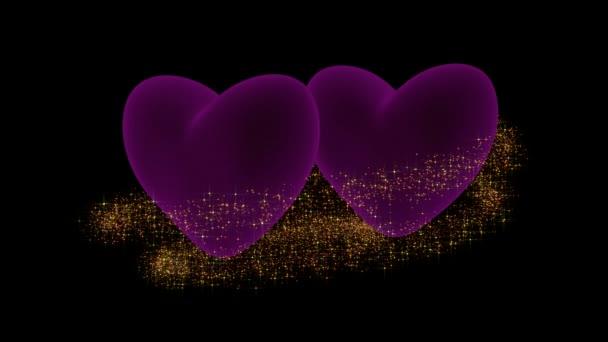 Růžové srdce s jiskrou třpytky a textem Valentýn