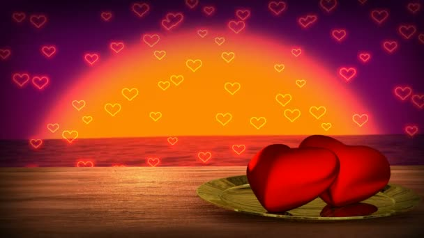 romantic wooden table with sea sunset on background