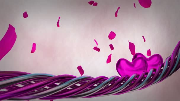Motion background with pink hearts and petals