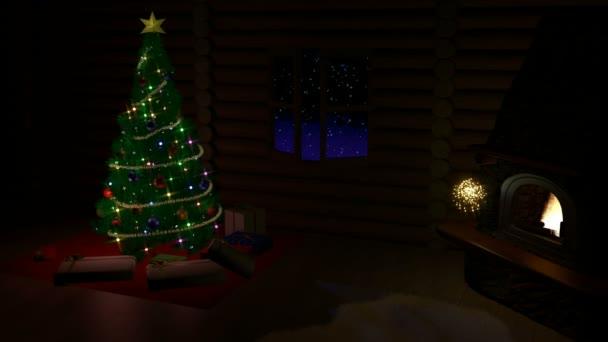 Vánoční strom, dárkové krabičky a krb