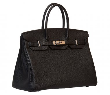 Women's black leather handbag