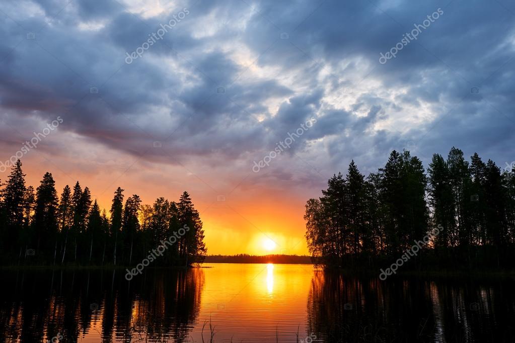 Sunset over a finnish lake